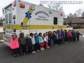 Students at Kindercare Preschool with Ambulance 4-3!